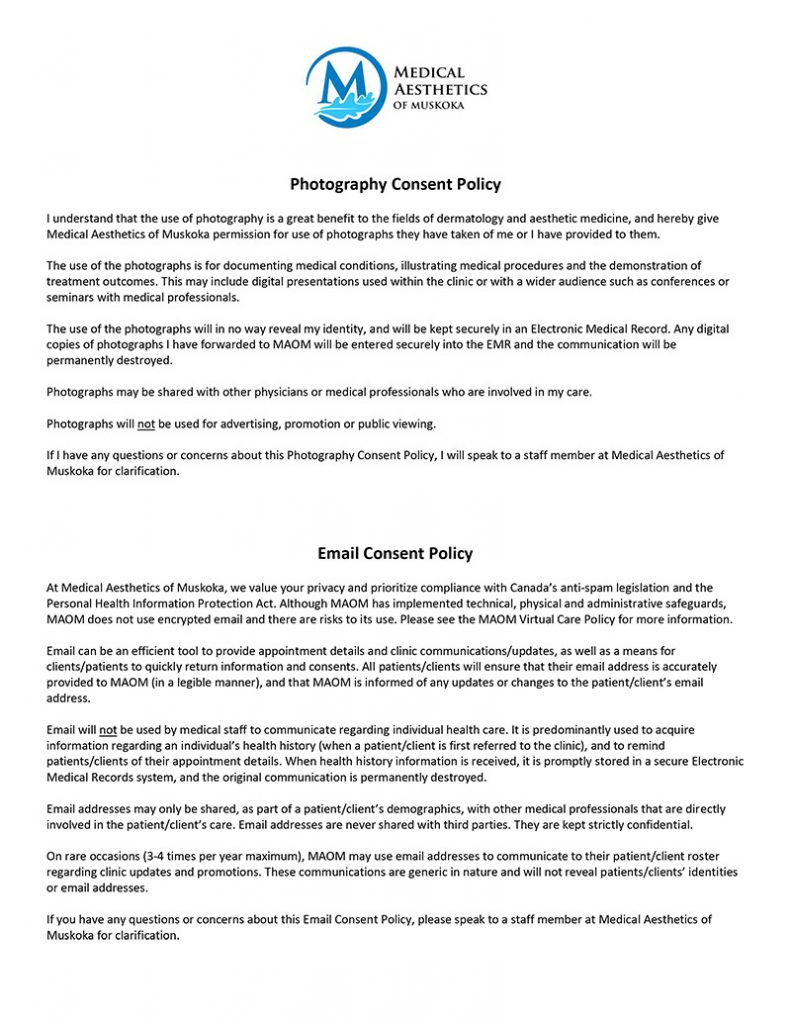 Photography Email Consent Policy